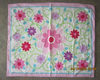 Pink & Purple Flowers Baby Crib Blanket with Cotton Fabric on back *