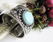 Large Silver Plated Turquoise Howlite  Cuff Bracelet