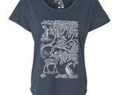 Little Deer, Animals, Woodlands, Cute Womens Tee, Dolman Top, Gift for her, Present for girls, Sizes S - 2XL