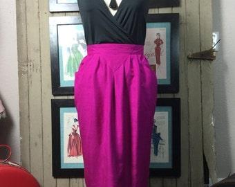 1980s magenta skirt 80s silk skirt size medium Vintage pencil skirt with pockets