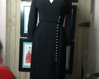 1960s Fred Perlberg dress 60s black dress size medium Vintage designer dress mod winter dress