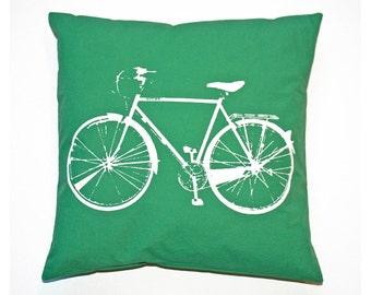 "Bike Pillow Cover Green (16x16"") White Bicycle Screenprint"