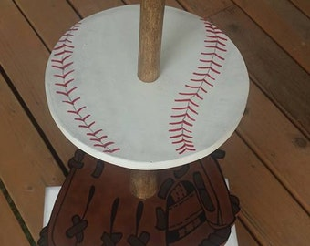 Baseball Themed Three Tiered Dessert Server, Stand