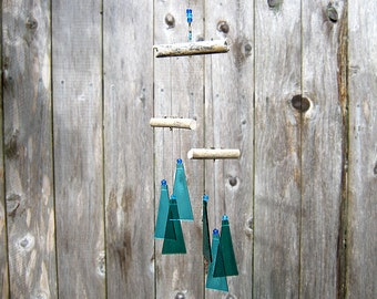 Glass Wind Chime Mobile, Blue and Teal Wind Chime, Glass Chimes, Glass Mobile, Ocean Wind Chime