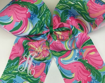 Boutique Floral, Hair Bows, Elephant Tropical, Summer Monogram, Initial Hairbow, Kids Teen, Long Tails, Customzied gift, Personalized girls
