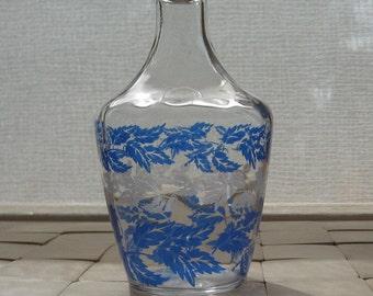 Decanter vase glass blue white France