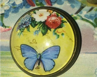 Crystal Glass Dome Button Blue Butterfly Flowers Pink Rose One Inch