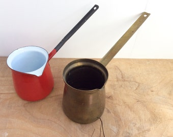 Red Enamelware, Mid Century Brass Turkish Coffee Pot, Enamel Ladles with Long Handles. Vintage Dippers. Repurpose as Mini Wall Planters.