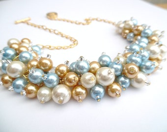 Pale Blue Pearl Wedding Jewelry, Chunky Pearl Necklace, Ivory Gold and Blue, Bridesmaid Jewelry, Cluster Necklace Bridesmaid, Pastel Blue