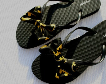 Batman inspired Flip Flop Sandals Licensed fabric handmade to your shoe size