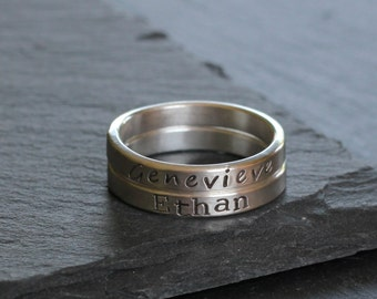 Sterling Silver Stacking Name Ring, 3 mm Wide Hand Stamped Ring