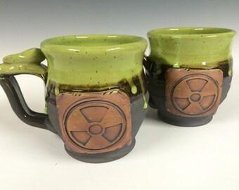 Radioactive mug, Handmade personalized pottery, ready to ship