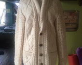 Vintage 70's unisex wool cable knit sweater. Size small(mens) medium(womens)