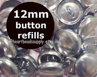 "fabric cover button Refills - 12mm, 1/2"",   blank wireloop back buttons id1320169r, recharge, bouton tissu"