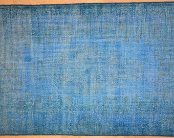 Rug Overdyed Vintage Bright Blue 6'x9.5'