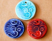 3 Ceramic beads - Om Pendants in Blues and Purples  - Handmade Jewelry Supplies - Ancient Namaste symbol for Meditation and Serenity -