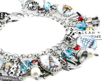 Nautical Bracelet, Compass Bracelet, Lighthouse Charms, Fresh Water Pearls, Sailboat Charm, Anchor Charm