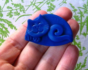 Cat Brooch or Magnet Polymer Clay Blue Happy Sleeping