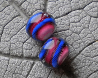 Pink Blue Twistie Pair Lampwork Beads by Cherie Sra R114 Earring pair Flameworked Glass Beads Lampwork Pink Enamel Earring Pair Lampwork