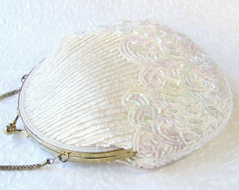 Vintage La Regale Creamy White Beaded Purse Shell Shape Pink Green Beading Wedding Handbag Formal Evening Bag Long Across Body Chain Strap
