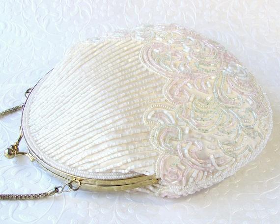Vintage La Regale Creamy White Beaded Purse Shell Shape Pink Green Beading Wedding Handbag Formal Evening Bag Long Across Body Chain Strap