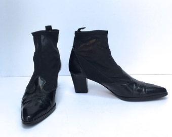Vintage 80s Western Mesh Booties revived SIZE 7 - 7.5US