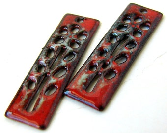 Rustic Red Enameled Flower Charms