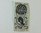 Airmail Balloon Octopus Relief-Printed Artistamp/faux postage stamp