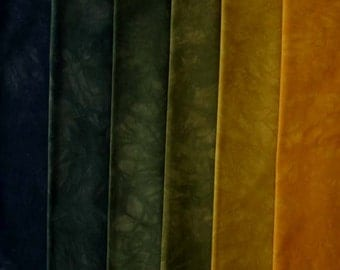 muted Yellow to Black Shades - hand dyed Fabric - 6 pc Fat Quarter Gradation Bundle - Tuscan Rose MYBK361