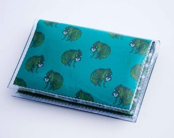 NEW Handmade Vinyl Card Holder - Henry Wolf  / card case, vinyl wallet, women's wallet, small wallet, pretty, gift, wolf, wolves, wild