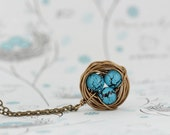 Gift For Mom, Wire Wrapped Bird Nest Necklace With Crackled Turquoise Beads, Wonderful Gift for New Mom, Grandmother, Gift For Woman