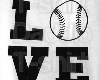 DIY Baseball Softball LOVE Black Glitter Vinyl Iron-On Applique