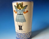 Vase - Kitty Girl with Butterfly Wings - Hand thrown Ceramic Vase / Tumbler