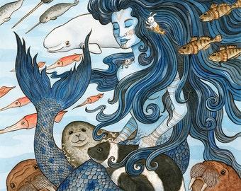 "Sedna Arctic Mermaid Sea Goddess Art Print 16""x20"""