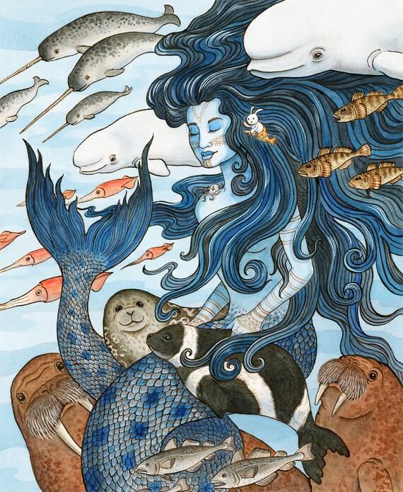 Sedna Arctic Mermaid Sea Goddess Art Print 16x20