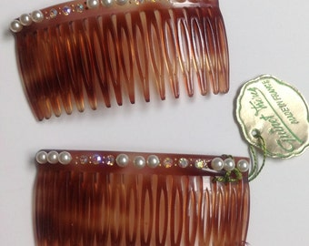 Guinet Freres Hair Combs Rhinestone set of 2