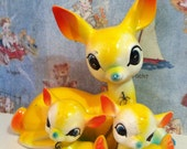 FREE SHIPPING Very RARE Vintage Antique Bright Yellow and Blue Mama Doe Deer and Babies Fawn Family Collectible Figurines or Cake Toppers