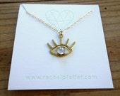 The Beholder - Brass and Faceted Chalcedony-  Evil Eye Pendant - Handmade and Cast