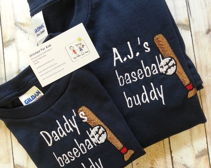 Happy Fathers Day Gift, Baseball Season, Personalized Baseball Matching Father and Son Buddy Shirts, First Gift from Son