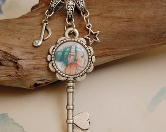 Punk Girl Charm Necklace Key Charm Gothic Jewelry Funky Necklace Headphone Girl Necklace