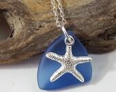 Cobalt Blue Sea Glass Pendant Sea Glass Necklace Sea Glass Jewelry N-362