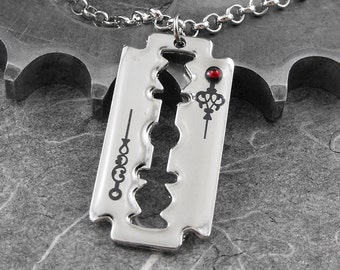 Sweeney Todd Steampunk Razor Blade Necklace - The Demon Barber's Blade by COGnitive Creations
