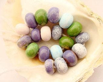 19 Enameled Handmade Lampwork Beads