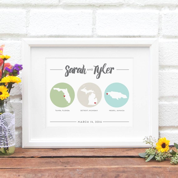 ... Distance Wedding Gift Travel History Best Friend Moving Gift Military