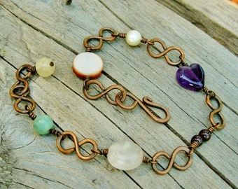 Mixed Stone Beads and Wire Wrapped Copper bracelet with hammered infinity links - amethyst, garnet, jasper, quartz, pearl, bracelet