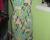 Adorable and RARE CAT Print Vintage Halter Dress - As Is