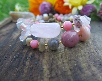 Stone Double Wrap Bracelet - Pink Grey with Feather Charm - Choker - Boho Jewelry - Bohemian Free Spirited - Multi Strand Gypsy - Good Vibes