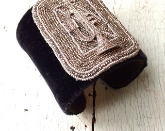Charcoal Silk Velvet Adjustable Cuff with Musical Instrument and Beaded Panel
