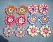 12 handmade thread crochet applique flowers -- 2427