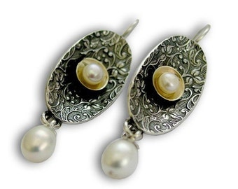 Dangle pearl earrings, Oval drop earrings, vintage filigree long earrings, sterling silver earrings, simple earrings - Confession E2104G